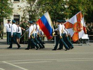 ВЧ 41516. Церемония выноса государственного флага и знамени