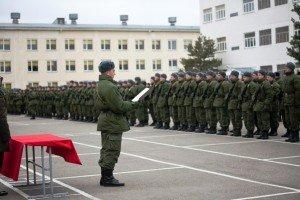 ВЧ 51532. Новобранец части принимает военную  присягу