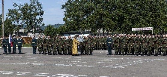 ВЧ 35390. Построение бойцов части во время церемонии присяги
