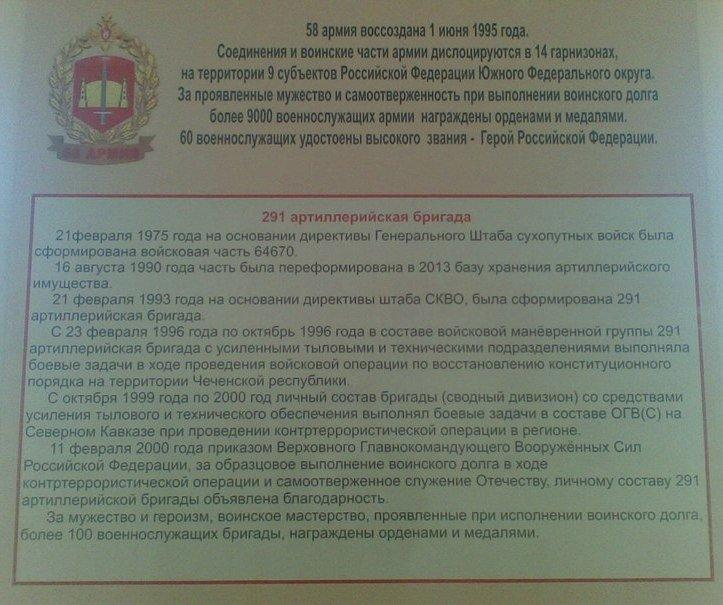 ВЧ64670. История 291-й артиллерийской бригады