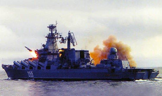 Проведение учений на ракетном крейсере «Маршал Устинов»