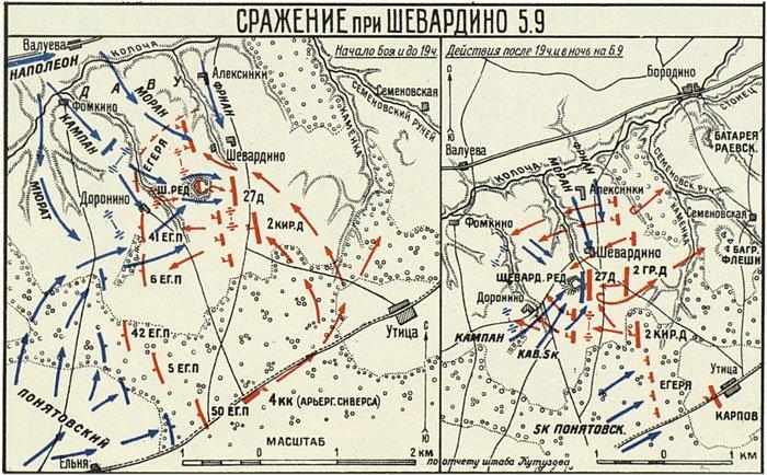 Расположение войск в сражении при Шевардино