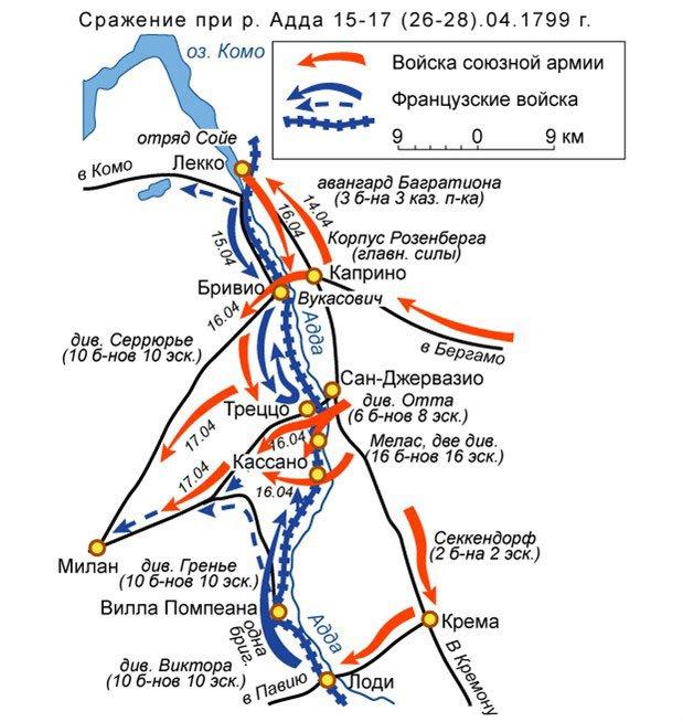 Военная карта сражения на реке Адда (15-17 апреля 1799-го года)