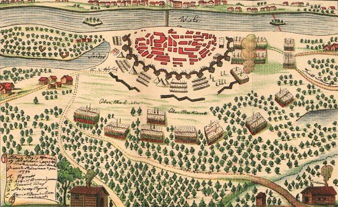 Военная карта штурма Праги войсками Суворова