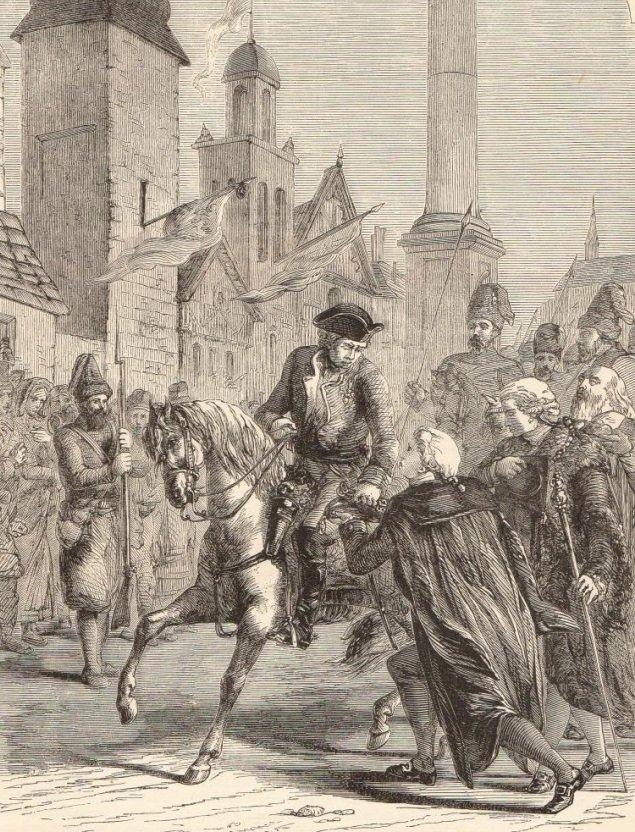 Суворов с войсками входят в капитулировавшую Варшаву